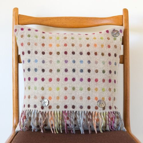 Cushion - Merino Wool - Polka Dots Multi Beige