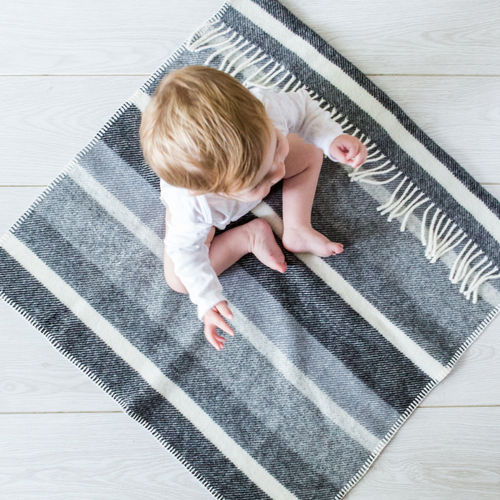 Pram Blanket - Broad Stripe Greys