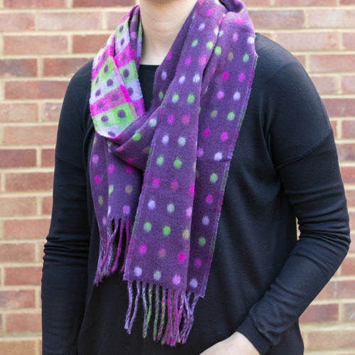 Scarf - Polka Dots Check Purple
