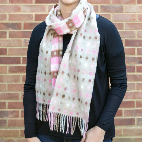 Scarf - Polka Dots Check Beige/Pink
