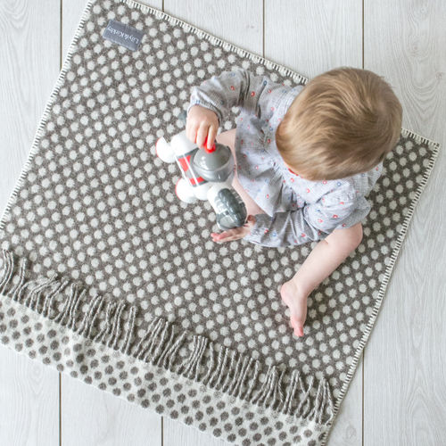 Pram Blanket - Polka Dots Grey/Cream