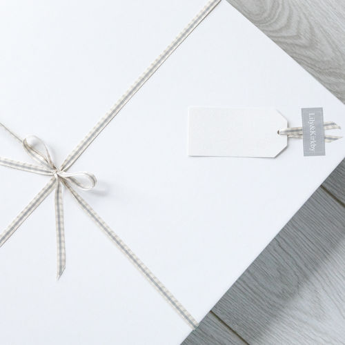 White Box (L), Grey Tissue Paper, Ribbon & Gift Tag (For Throws & Garden Kneelers)