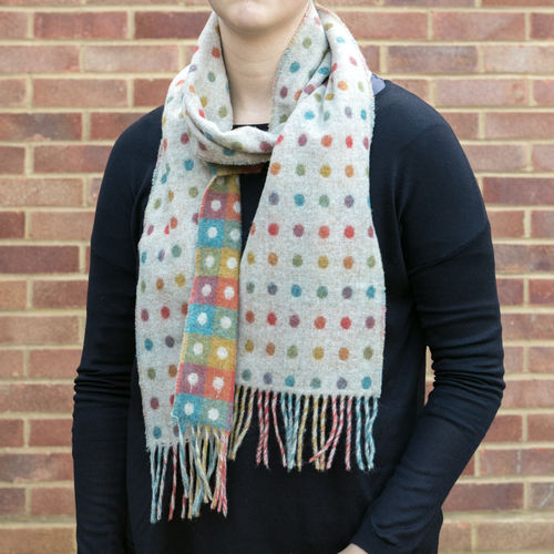 Scarf - Polka Dots Check Beige/Multi