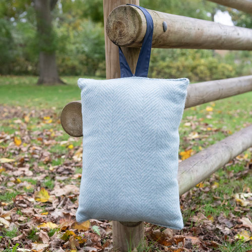 Kneeler Cushion - Fishbone Duck Egg/Navy