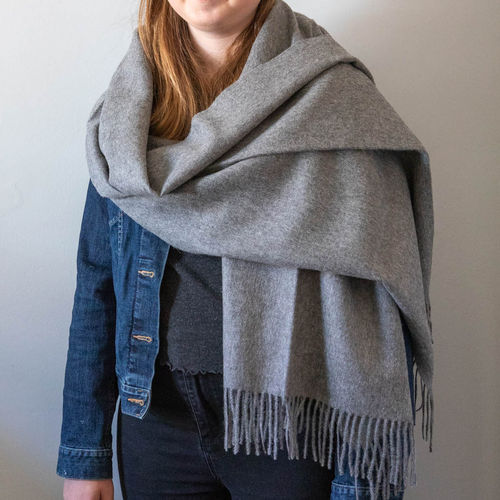 Stole - Luxury Alpaca 60cm x 200cm - Plain - Grey