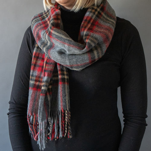Scarf - Check - 50cm - Red/Grey