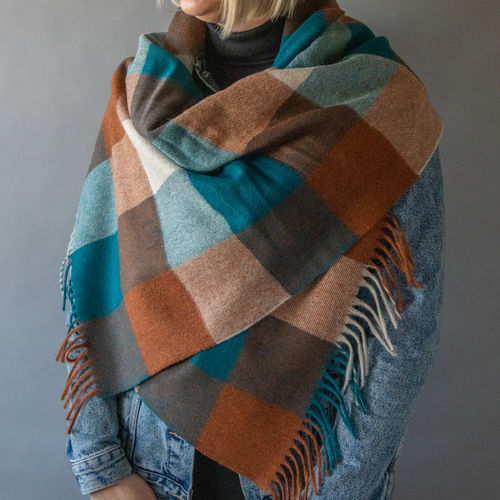 Scarf - Check - 50cm - Rust/Teal
