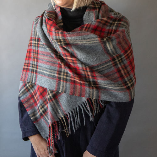 Stole - Check - 70cm wide - Red/Grey