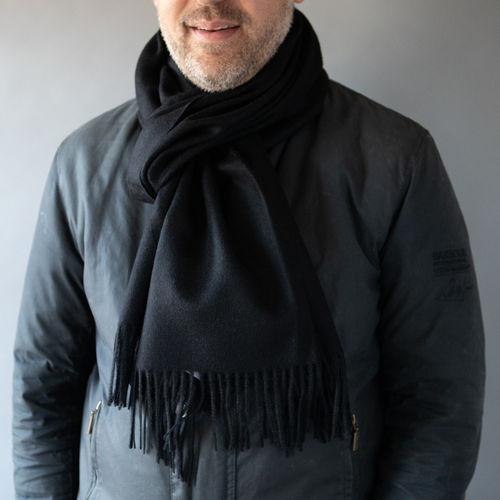 Stole - Luxury Alpaca 60cm x 200cm - Plain - Black